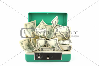 one hundred dollars banknotes in cash box