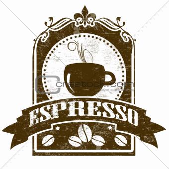 Espresso grunge stamp