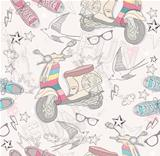 Cute grunge abstract pattern. Seamless pattern with retro scooter