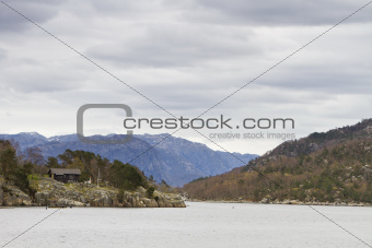 landscape in norway - coastline in fjord