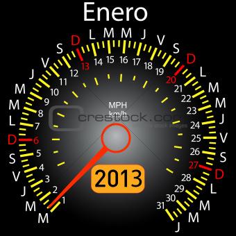 2013 year calendar speedometer car in Spanish. January
