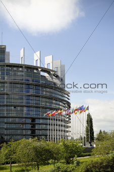 European Parliament with flags