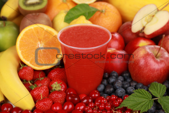 Fresh juice from red fruits