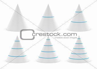 data presentation graphic, conical shape