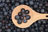 Blueberries on a wooden spoon
