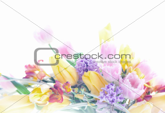 Collage postcard art background mix of flowers