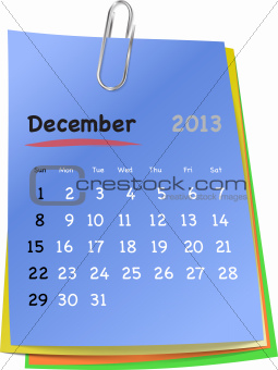 Calendar for december 2013 on colorful sticky notes