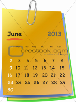 Calendar for june 2013 on colorful sticky notes
