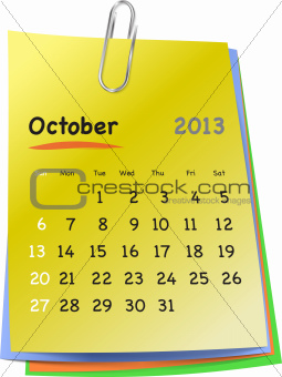 Calendar for october 2013 on colorful sticky notes