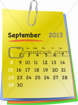 Calendar for september 2013 on colorful sticky notes
