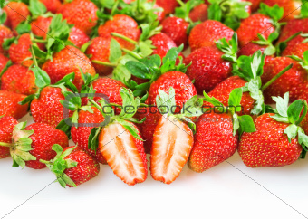 ripe juicy red strawberry on a white background