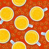Beer mugs and pretzels pattern