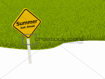Summer Just Ahead road sign in front of grass