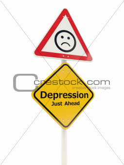 Depression Just Ahead road sign isolated on white