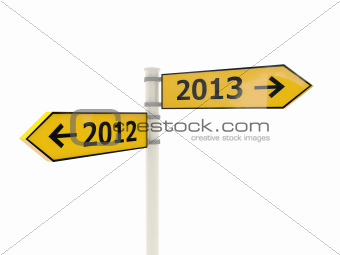 2012-2013 Road sign isolated on white