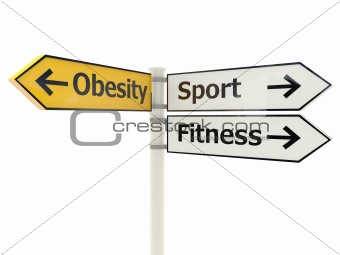 Obesity Road sign isolated on white