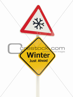 Winter Just Ahead road sign isolated on white