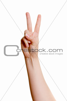 Woman's hand with two fingers up