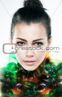 Art portrait of young attractive girl brunette close up
