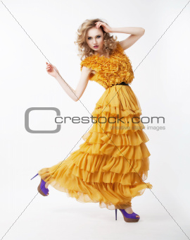 Lovely happy active female blond hair woman in modern dress