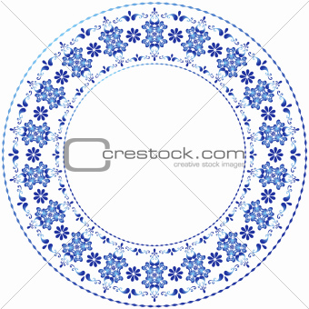 White-blue decorative gzhel frame