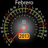 2013 year calendar speedometer car in Spanish. February