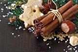 Christmas composition with spices.