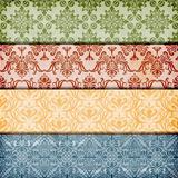 vector seamless floral borders on  crumpled paper texture