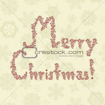 """Merry Christmas"" Greeting on Seamless Pattern"