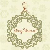 Vector Hanging Frame with Christmas Greetings