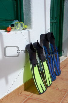 Snorkeling equipment. Canary Islands, Lanzarote.