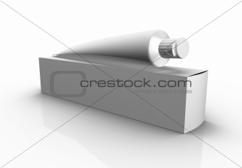 Blank box and tube on white background