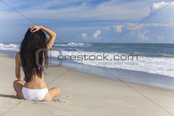 Sexy Woman Girl Sitting Bikini on Beach