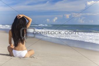 Sexy Woman Girl Sitting Bikini on Beach