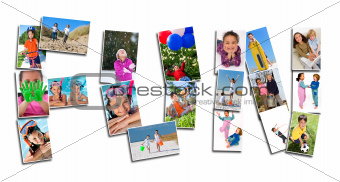 Montage of Young Active Children Having Fun Playing