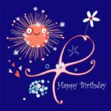 funny card with starfish and sea urchin
