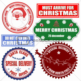Set of Christmas stamps and labels