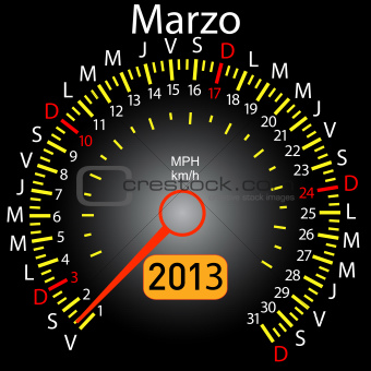 2013 year calendar speedometer car in Spanish. March