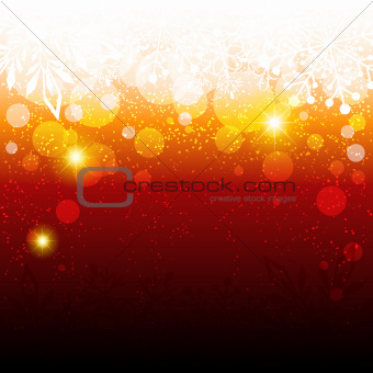 Abstract Sparkling Red Christmas Snowflake Background
