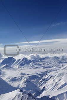Top view of snow capped mountains