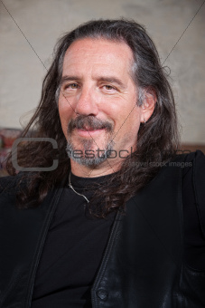 Smiling Male Biker Gang Member
