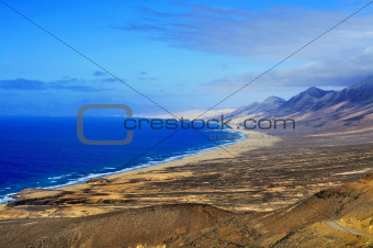 Aerial view of Cofete Beach in Fuerteventura, Canary Islands, Spain