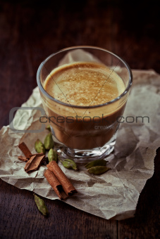 Aromatic coffee with milk and spices