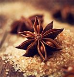 Star anise on brown sugar