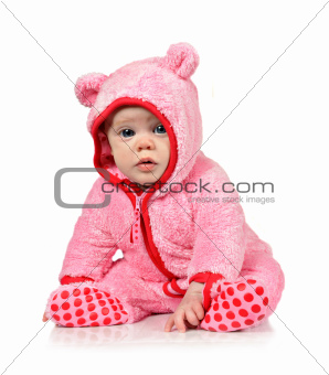 Cute little baby girl in pink