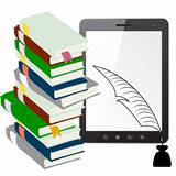 Tablet PC computer with a pen and ink with books