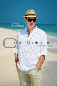 Happy young man in vacation