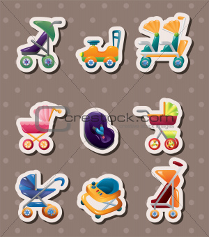 set of baby carriage stickers