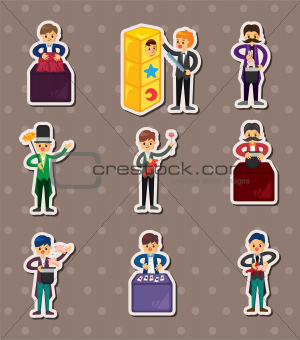 set of Cartoon magician stickers