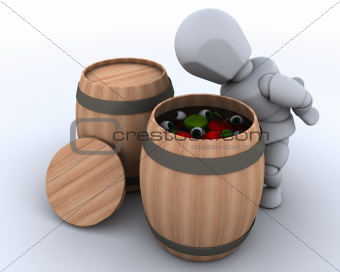 man bobbing for apples in a barrel